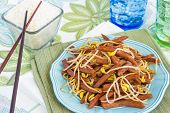 foto of spam  - Hawaiian stir fry made with spam and bean sprouts - JPG