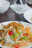 stock photo of cooked crab  - spicy papaya salad with crab asian spicy food - JPG