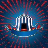 stock photo of circus tent  - circus tent icon with blue blank banner on grunge burst background - JPG