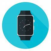 pic of watch  - Smart Watch Flat Circle Icon - JPG