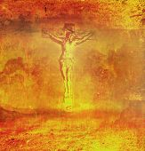 stock photo of crucifixion  - Crucifixion and resurrection of Jesus Christ on the cross  - JPG