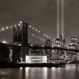 image of tribute  - New York City downtown Brooklyn Bridge and september 11 tribute at night - JPG