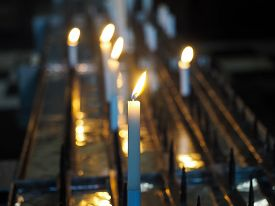 picture of prayer  - Christian Church Votive candles lit as prayer
