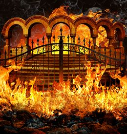 stock photo of underworld  - Fantastic hell entrance with gates stairs and portal columns in flames and smoke - JPG