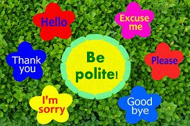stock photo of politeness  - Be polite message on colorful flowers and green shrub background - JPG