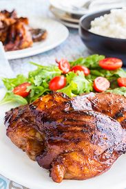pic of baste  - Grilled boneless chicken thighs marinated and basted in a mixture of guava jam shoyu oyster sauce and seasonings - JPG
