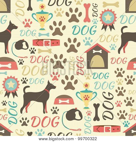 Retro seamless  pattern of dog icons. Endless texture