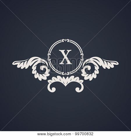 Vintage luxury emblem. Elegant Calligraphic pattern on vector logo. Black and white monogram X