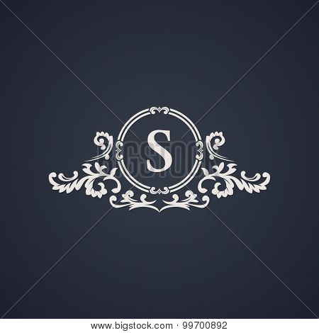 Vintage luxury emblem. Elegant Calligraphic pattern on vector logo. Black and white monogram S
