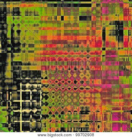 Old grunge antique texture. With different color patterns: red (orange); green; purple (violet); black