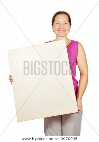 Mature Woman Holding Banner