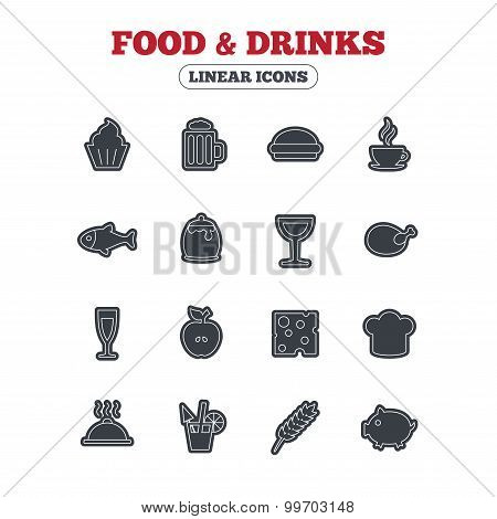 Food and Drinks icon. Beer, coffee, cocktail.