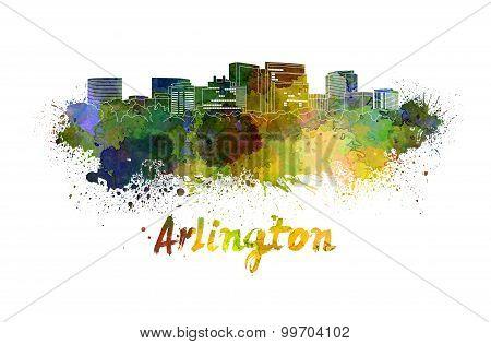 Arlington Skyline In Watercolor