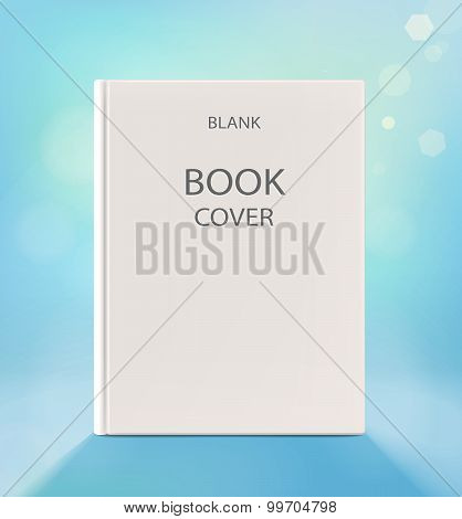 Blank Vertical Book Cover, On A Light Blue Backgraund.