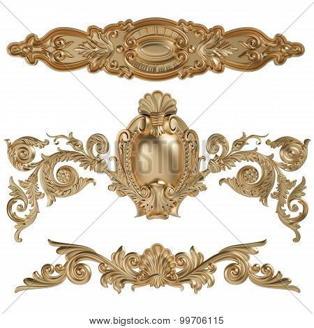 3D Set Of An Ancient Gold Ornament On A White Background