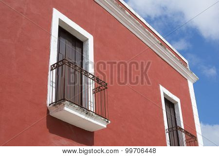 Colorful Colonial Balconies In Valladolid, Mexico