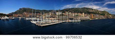 Panoramic Cityscape And Harbor Of Monte Carlo. Principality Of Monaco