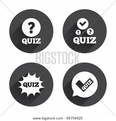Quiz icons. Speech bubble with check mark symbol