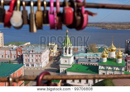 View Of Church Of The Nativity Of John The Precursor Through The Bridge With Love Locks