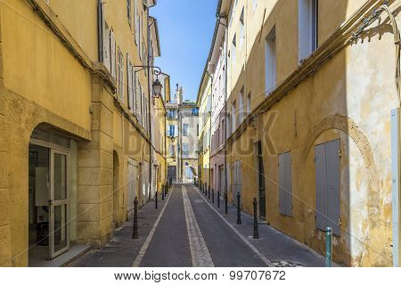 Narrow Street With Typical Houses In Aix En Provence