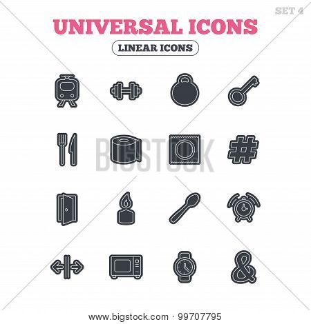 Universal icon. Fitness dumbbell, key and candle