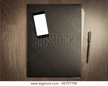 Folder For Papers On A Wooden Texture