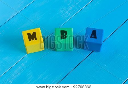 MBA or Master of Business Administration text on colour block