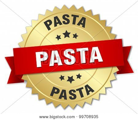 Pasta 3D Gold Badge With Red Ribbon