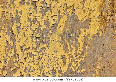 Concrete Wall With Peeling Yellow Paint