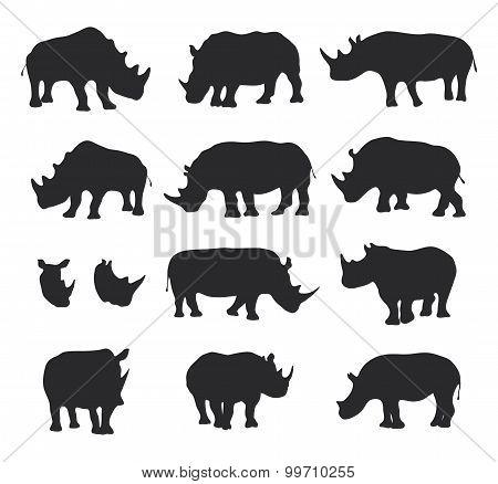 Vector black rhino silhouettes