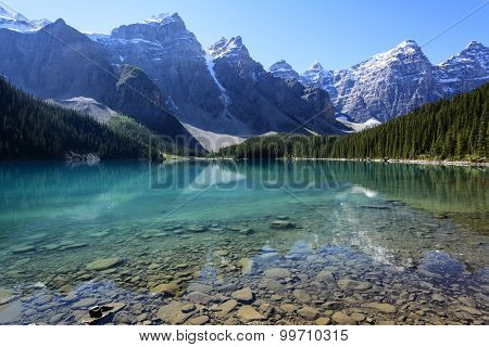 Moraine Lake On A Mid-summer Morning