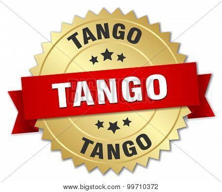 Tango 3D Gold Badge With Red Ribbon