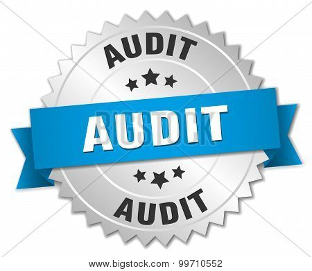 Audit 3D Silver Badge With Blue Ribbon