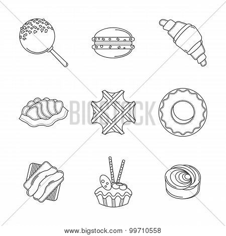 Line confectionery vector icons