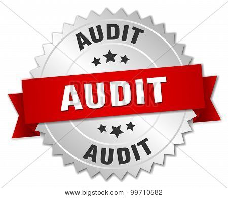 Audit 3D Silver Badge With Red Ribbon