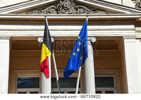 Belgium and European Union flags