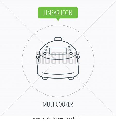 Multicooker icon. Kitchen electric device symbol