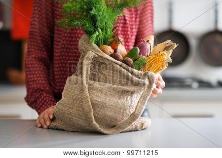Closeup Of Burlap Sac Filled With Autumn Vegetables