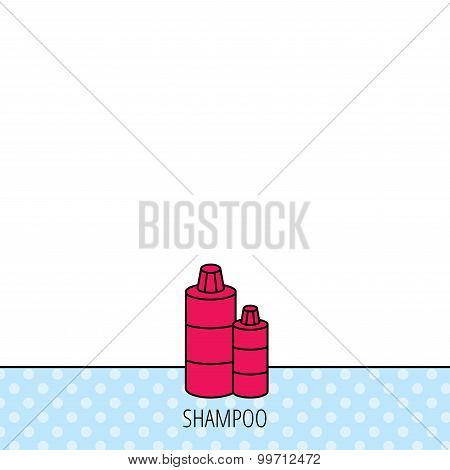 Shampoo bottles icon. Liquid soap sign.