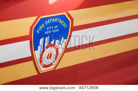NEW YORK CITY, USA - SEPTEMBER, 2014: Fire department New York emblem