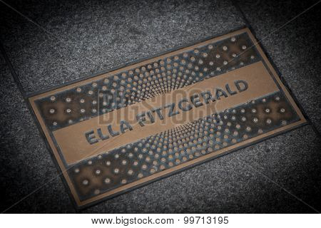NEW YORK CITY, USA - SEPTEMBER, 2014: Ella Fitzgerald paving slab in front of famous Apollo theatre in Harlem New York City