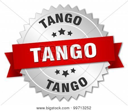 tango 3d silver badge with red ribbon