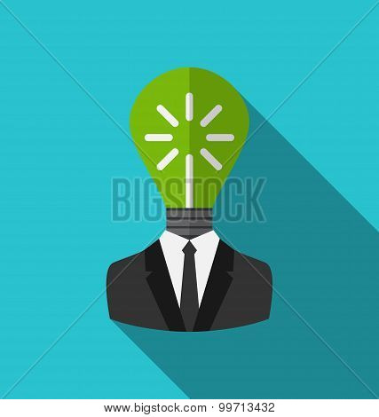 Concept lamp of new idea as out of head businessman