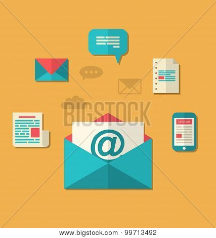 Concept of email marketing - newsletter and subscription, flat t