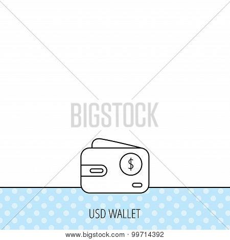 Dollar wallet icon. USD cash money bag sign.