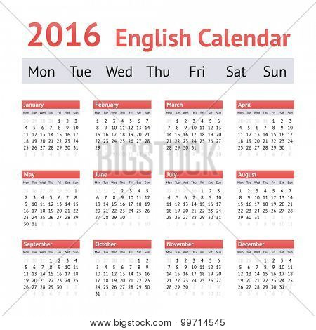 2016 European English Calendar. Week starts on Monday