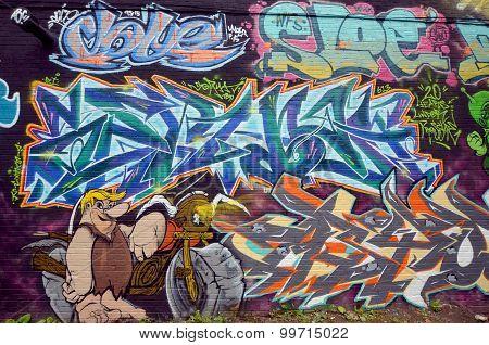Street art  Barney Rubble