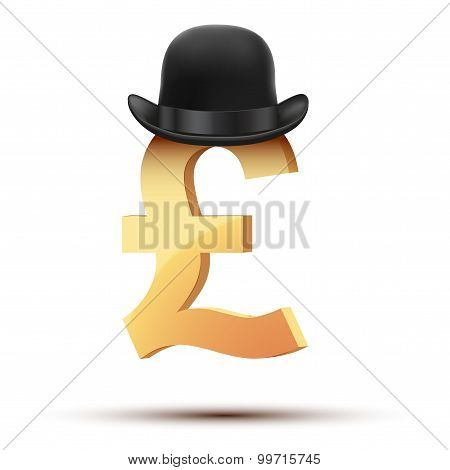 Symbol Of The English Pound In Bowler Hat.