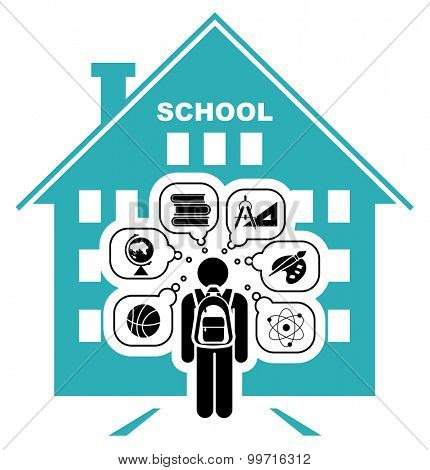 Pictogram of a child going to school. Learning different subjects. Pictogram icon set. Vector illustration. Back to school. School days.
