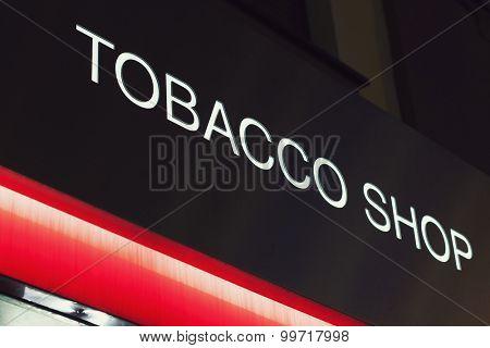 Tobacco shop neon sign